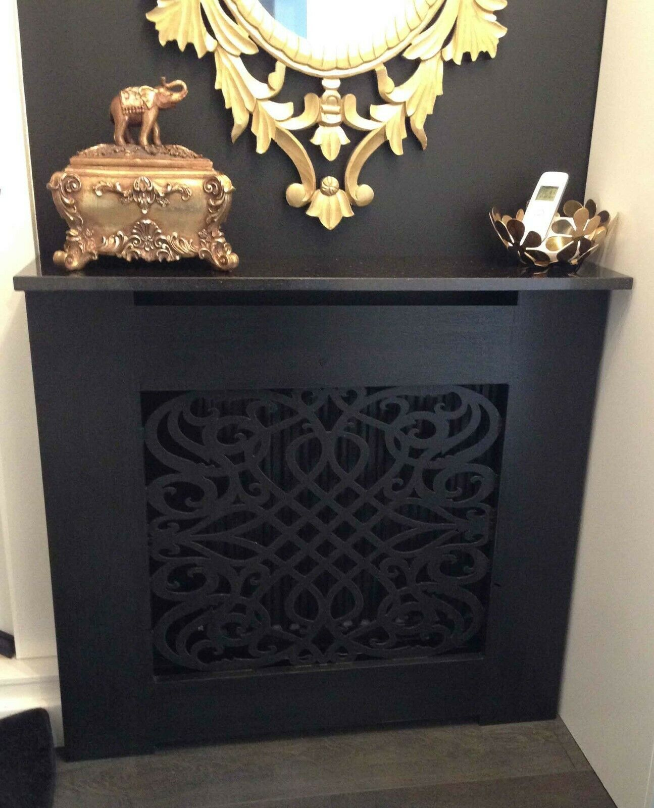 Black Painted Radiator Cabinet Cover Classic Baroque Shaker Slatted