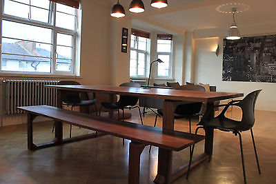 Distinctive Handmade Bespoke Solid American Black Walnut Dining Table 2 Benches